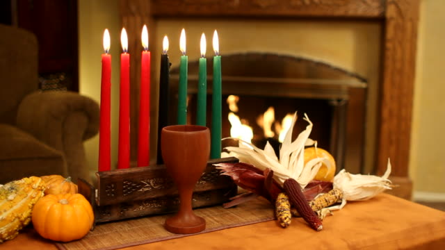 Kwanzaa Candle With Fireplace