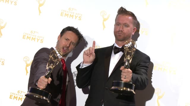 kyle dunnigan and jim roach at the 2015 creative arts emmy awards at microsoft theater on september 12 2015 in los angeles california - emmy awards stock-videos und b-roll-filmmaterial