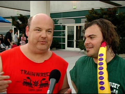 kyle gass and jack black on being at comiccon performing at their first convention center kyle exposing himself to kevin smith jack black's saxaboom... - jack black stock videos & royalty-free footage