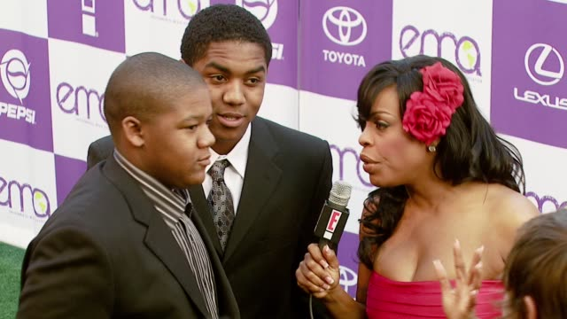 stockvideo's en b-roll-footage met kyle massey christopher massey and niecy nash at the 2007 ema awards at the wilshire ebell theatre and club in los angeles california on october 24... - wilshire ebell theatre