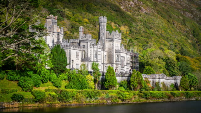 kylemore abbey in connemara, county galway, ireland - castle stock videos & royalty-free footage