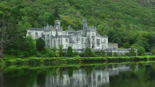 kylemore abbey in connemara district in ireland - ireland stock videos & royalty-free footage