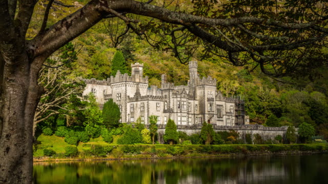 kylemore abbey ireland - castle stock videos & royalty-free footage