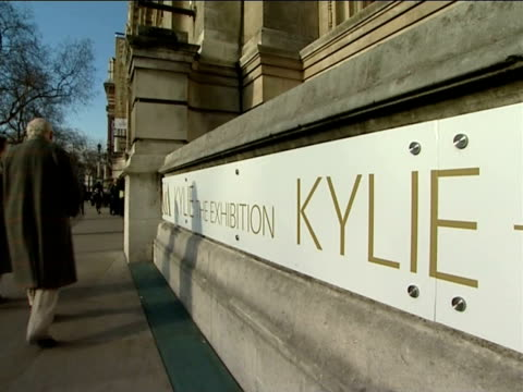 kylie minogue clothes exhibition at the victoria & albert museum; **kylie minogue music intermittently overlaid sot** england: london: victoria and... - kylie minogue the exhibition stock videos & royalty-free footage