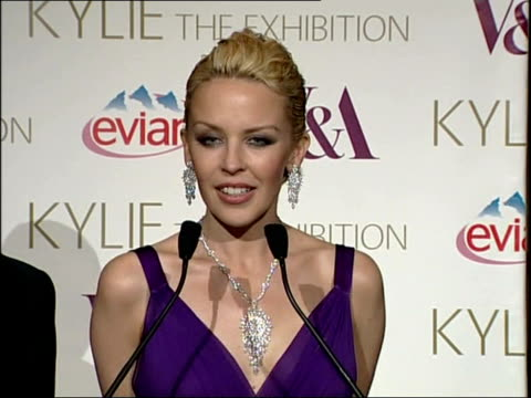 kylie minogue clothes exhibition at the victoria & albert museum: kylie arrival and interviews / kylie touring exhibition; kylie along to stage /... - kylie minogue the exhibition stock videos & royalty-free footage