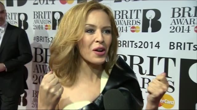 kylie minogue describes how it feels to be at the brit awards 2014 during red carpet interview - 2014 stock videos & royalty-free footage