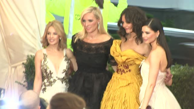 """kylie minogue, keren craig, katie holmes and georgina chapman at """"charles james: beyond fashion"""" costume institute gala - arrivals at the... - kylie minogue the exhibition stock videos & royalty-free footage"""