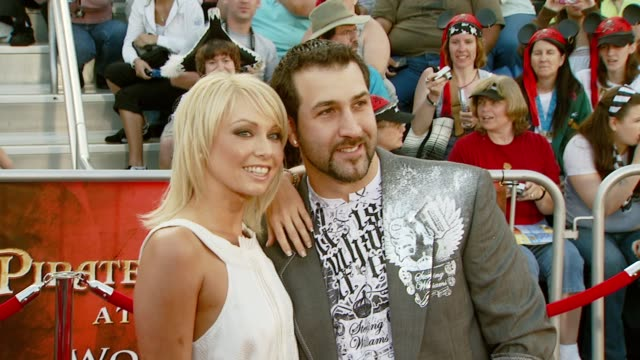 kym johnson and joey fatone at the 'pirates of the caribbean at world's end' world premiere at disneyland in anaheim california on may 19 2007 - joey fatone stock videos & royalty-free footage