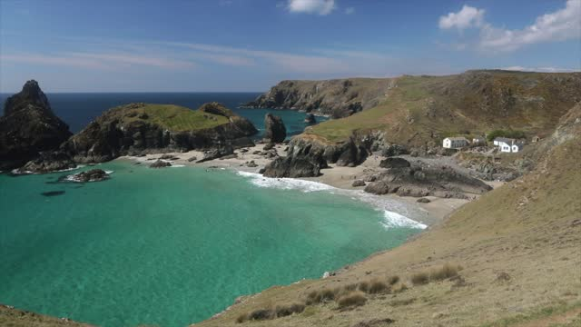 kynance cove, cornwall - wide shot stock videos & royalty-free footage