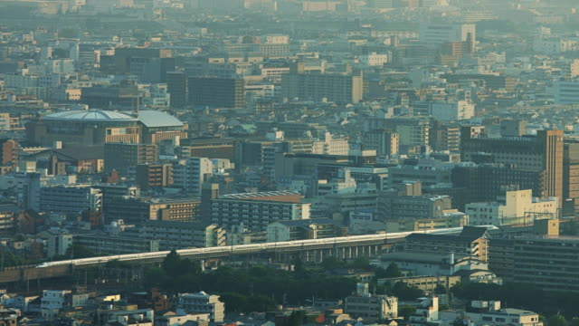 kyoto from above with bullet train - shinkansen stock videos & royalty-free footage