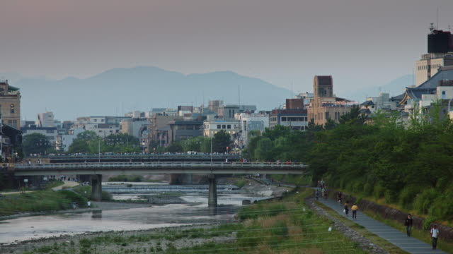 kyoto riverbank scene - riverbank stock videos & royalty-free footage
