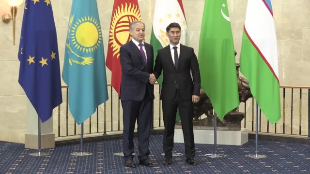 Kyrgyz Foreign Minister Chingiz Aidarbekov welcomes participant ministers ahead of the 15th EUCentral Asia Foreign Ministers' Meeting in Bishkek...