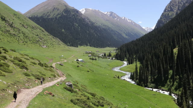 Kyrgyzstan, Altyn Arashan(Golden Spa), view of the valley and mountain resort, near Karakol and Issyk Kul Lake