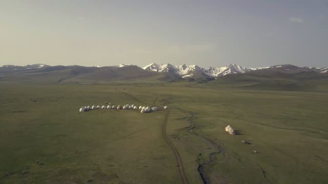 Kyrgyzstan, Tian Shan mountains, aerial view of yurt camp near the Song Kul high alpine lake