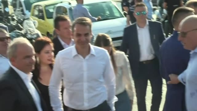 Kyriakos Mitsotakis leader of the conservative opposition party in Greece who is expected to oust leftist Prime Minister Alexis Tsipras in the first...