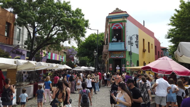 la boca neighborhood full with people - argentina stock videos & royalty-free footage