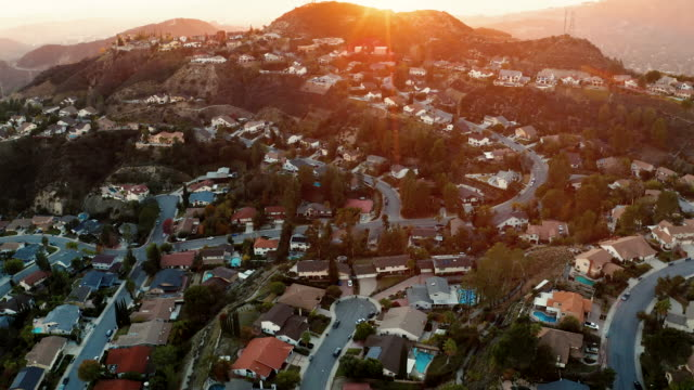 la canada and glendale urban sprawl, california - drone shot - b roll stock videos & royalty-free footage