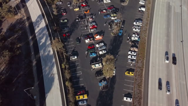 la canada cars and coffee - aerial drone shot - motor show stock videos and b-roll footage