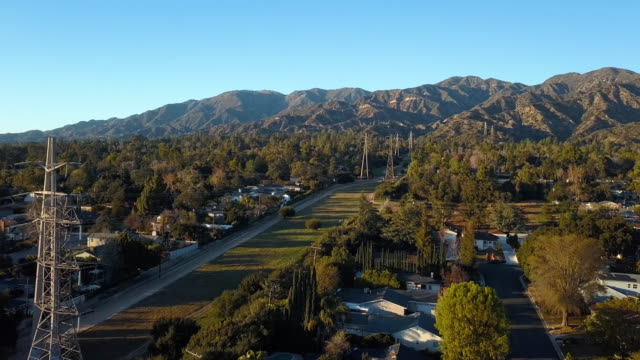 la canada edison trail power lines - aerial drone shot - power line stock videos & royalty-free footage