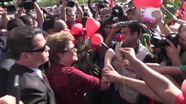 la destituida presidenta de brasil dilma rousseff dejo el martes la residencia presidencial de brasilia seis dias despues de su suspension con rumbo... - alegre stock videos & royalty-free footage