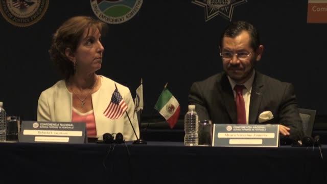 vídeos y material grabado en eventos de stock de la embajadora de estados unidos en mexico roberta jacobson afirmo el martes que ambos países estan comprometidos en la lucha contra la amenaza del... - ee.uu