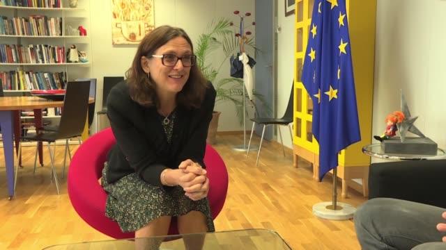 la entrada en vigor del acuerdo cerrado entre la union europea y los paises del mercosur tomara dos anos como minimo aseguro la comisaria europea de... - entrada stock videos and b-roll footage