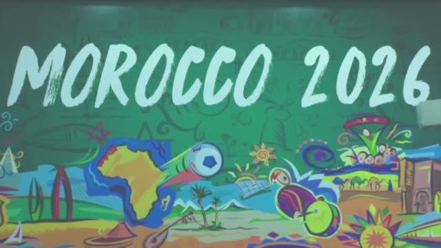 vídeos y material grabado en eventos de stock de la fifa publico el lunes los dossieres de las dos candidaturas a la organizacion del mundial 2026 marruecos por un lado y por el otro estados unidos... - de lado a lado