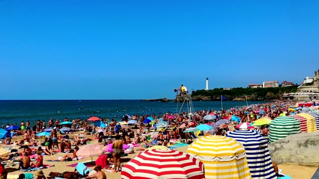 la grande plage beach in biarritz - french culture stock videos & royalty-free footage