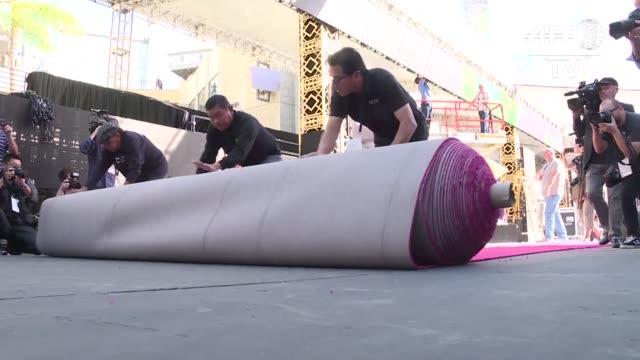 la iconica alfombra roja que recorreran las estrellas nominadas a los premios oscar fue desplegada el miercoles en el bulevar hollywood - bulevar stock videos & royalty-free footage