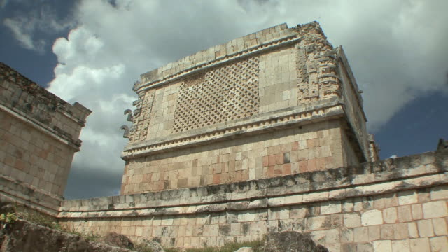 ws la iglesia (the church) decorated with elaborate masks of rain god chaac in las monjas complex at pre-columbian archaeological site built by maya civilization / chichen itza, yucatan, mexico - pre columbian stock videos & royalty-free footage