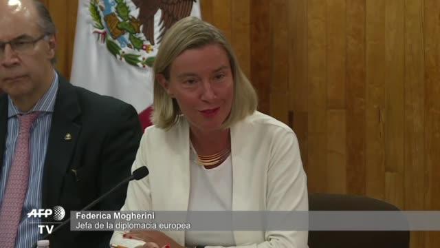 vídeos y material grabado en eventos de stock de la jefa de la diplomacia europea federica mogherini insto el miercoles al gobierno y la oposicion de venezuela a reanudar su estancado dialogo para... - diplomacia