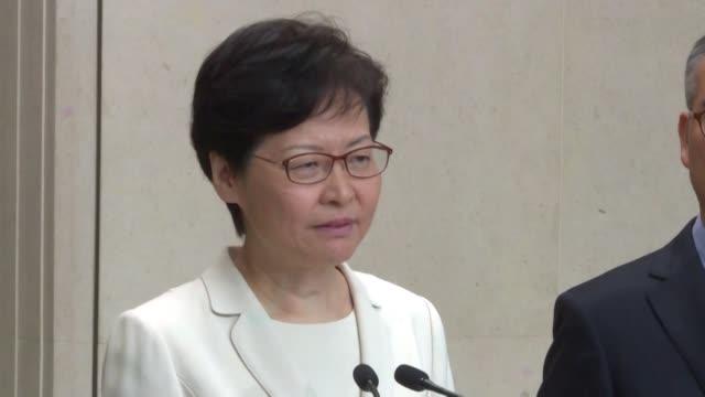 la jefa del ejecutivo de hong kong carrie lam exhorto el jueves a los manifestantes del territorio al dialogo un día despues de haber retirado un... - día stock videos & royalty-free footage
