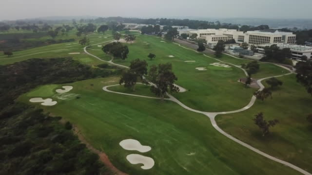 la jolla, ca, u.s. - aerial view of torrey pines golf course on friday, may 2020. - pine stock videos & royalty-free footage