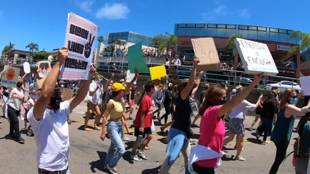 kswb la jolla ca us people walking in black lives matter protest in la jolla on sunday june 14 2020 - outdoor poster stock videos & royalty-free footage