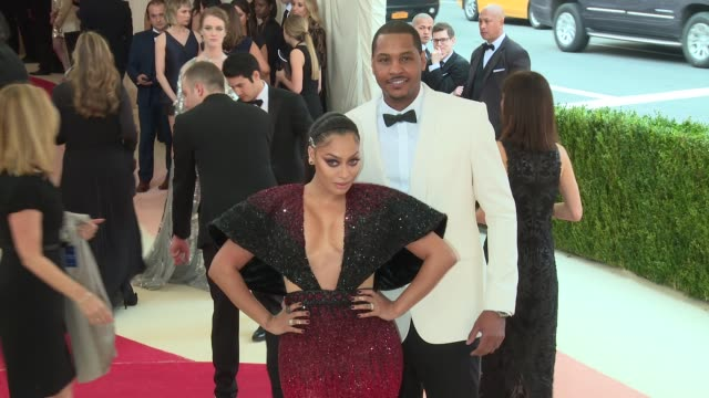 la la anthony and carmelo anthony at manus x machina fashion in an age of technology costume institute benefit gala arrivals at metropolitan museum... - manus x machina: fashion in an age of technology stock videos and b-roll footage