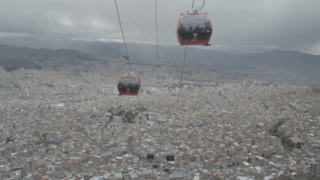 stockvideo's en b-roll-footage met la paz cable cars timelapse - bolivia