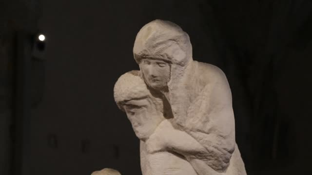 la pieta rondanini, the last sculpture by artist michelangelo was transferred to a new museum in milan created for the work said municipla officials... - michelangelo artist stock videos & royalty-free footage
