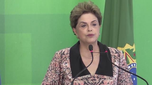 la presidenta brasilena dilma rousseff dijo el martes que el proceso de destitucion en su contra que ahora evalua el senado tras ser aprobado por los... - aprobado stock videos & royalty-free footage