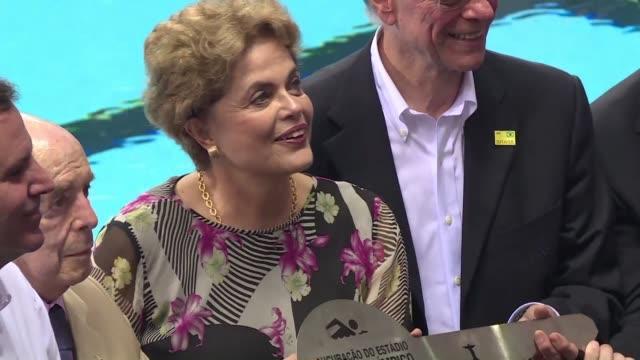 la presidenta dilma rousseff expreso el viernes la esperanza de que los juegos olimpicos sirvan para apaciguar las tensiones en brasil mientras el... - congreso stock videos and b-roll footage
