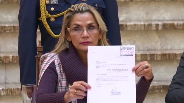 la presidenta interina de bolivia jeanine anez envio el miercoles al congreso un proyecto de ley para convocar a nuevas elecciones generales un mes... - congreso stock videos and b-roll footage
