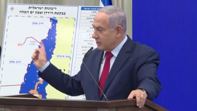 la propuesta del primer ministro israeli benjamin netanyahu de anexionar gran parte de cisjordania si gana las elecciones de la proxima semana fue... - benjamin netanyahu stock videos & royalty-free footage
