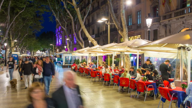 la rambla (las ramblas) walking street, barcelona, catalunya, spain - time lapse - spain stock videos & royalty-free footage