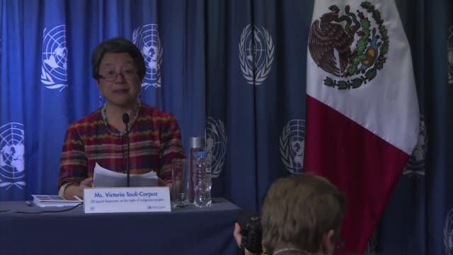 la relatora especial de las naciones unidas sobre los derechos de los pueblos indigenas denuncio el viernes que en mexico los ninos y jovenes de... - naciones unidas stock videos & royalty-free footage