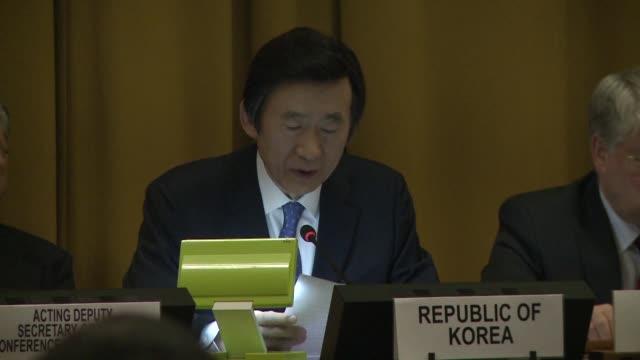 la representacion de corea del norte en la conferencia de desarme de las naciones unidas respondio a corea del sur por sugerir su suspension en la... - naciones unidas stock videos & royalty-free footage