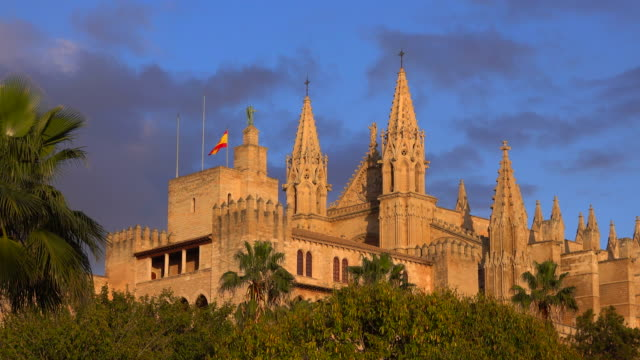 la seu cathedral and royal palace, palma de mallorca, majorca, balearic islands, spain - palast stock-videos und b-roll-filmmaterial