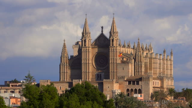 la seu cathedral, palma de mallorca, majorca, balearic islands, spain - cathedral stock videos & royalty-free footage