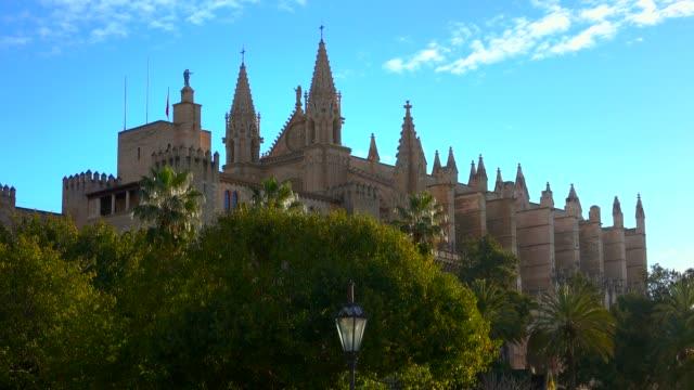la seu cathedral with royal palace, palma de mallorca, mallorca (majorca), balearic islands, spain, mediterranean, europe - palma stock videos & royalty-free footage