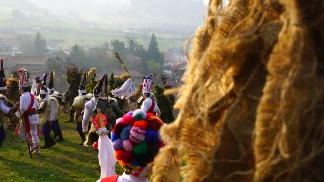 """la vijanera"", carnival in silio, molledo municipality, cantabria, spain, europe - traditional festival stock videos and b-roll footage"