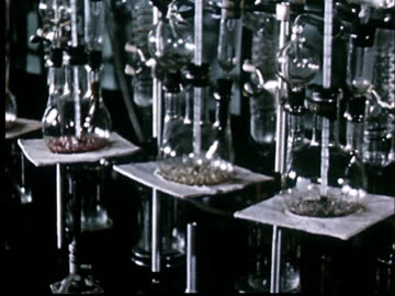 cu, lab flasks with boiling liquids - archivmaterial stock-videos und b-roll-filmmaterial