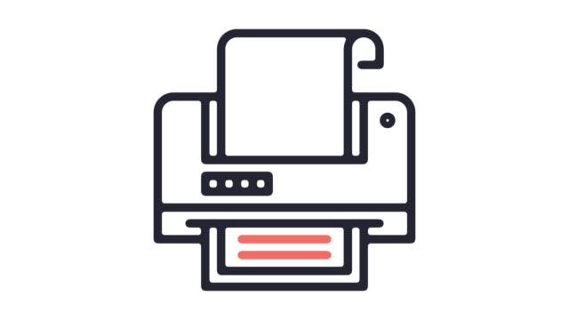 label printer line icon animation with alpha - fax machine stock videos & royalty-free footage